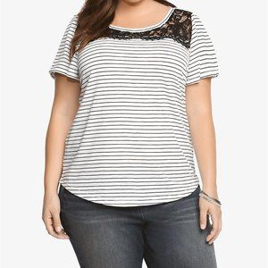 Torrid Lace Illusion Lace Front Striped Tee